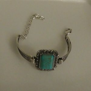Tribal Silver Plated Square Turquoise Bracelet